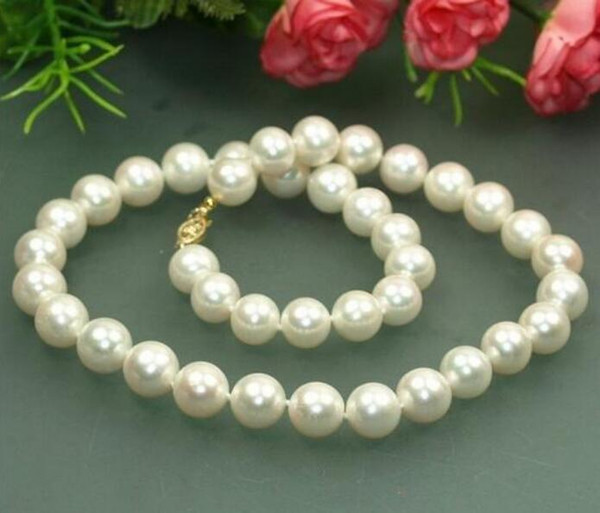Jewelryr Pearl Necklace noble jewelry 18'' 9-10mm Australian Akoya south seas white pearl necklace DIY women hot sale je Free Shipping