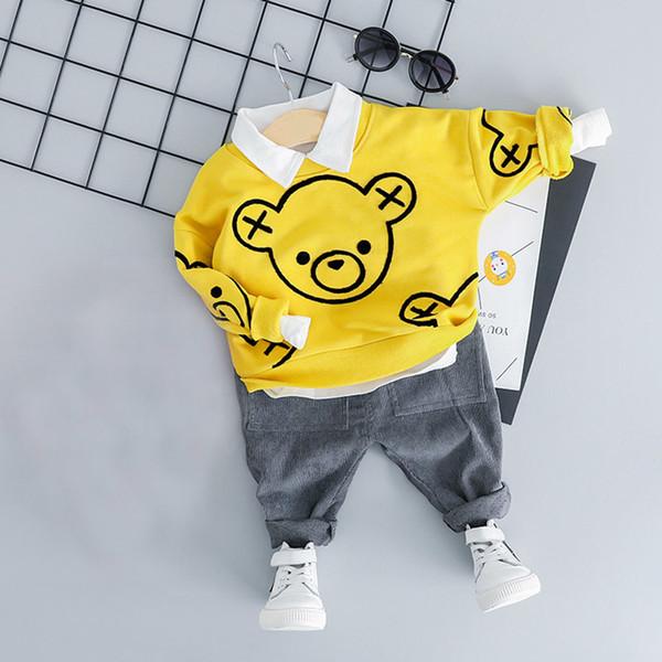 2019 bebé de las muchachas de la ropa Conjuntos de ropa para niños oso de la historieta del traje de los muchachos del niño Conjuntos 1-4 edad T200114