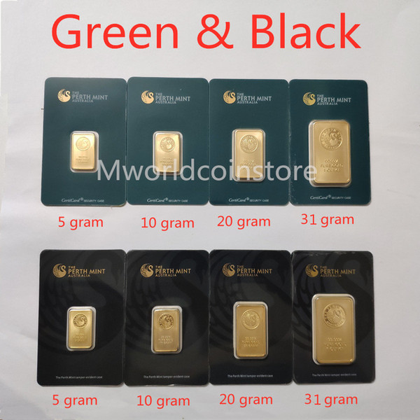 top popular 5 10 20 31gram The Perth Mint Gold-plated Bullion Bars 999 FINE Australia gold plate bar Green  black blister quality Collections souvenirs gifts Wholesale 2021
