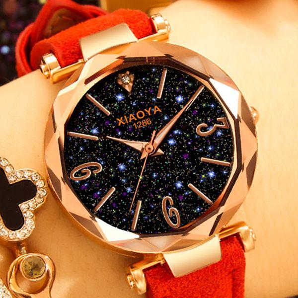 Luxusuhren frauen 2018 beste verkauf stern himmel zifferblatt uhr rose gold armband analog quarz armbanduhren dropshipping montre femme