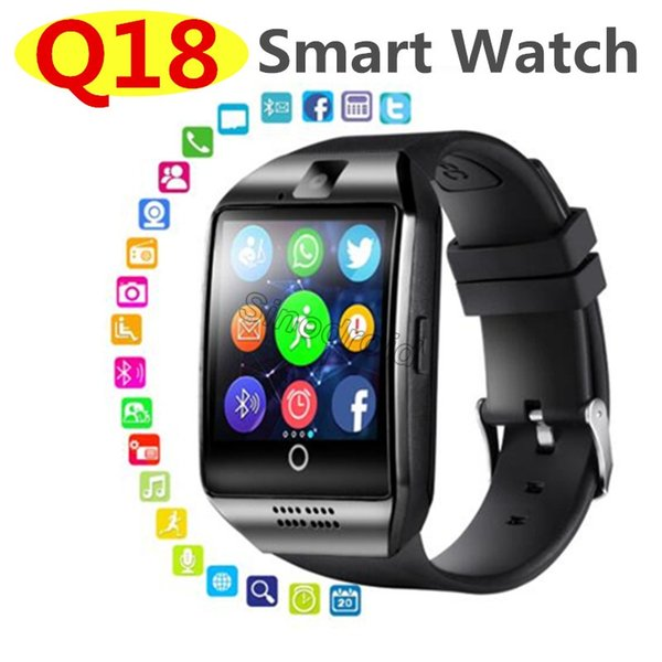 For Iphone 7 8 X MAX Bluetooth Smart Watch Q18 Mini Camera For Android iPhone Samsung Smart Phones GSM SIM Card Touch Screen