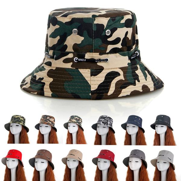 12styles Camouflage benna cappello Uomo donna estate Outdoor viaggio Bonnet Protezione solare Alpinismo Cappello modis pescatore cappello da pescatore FFA2416