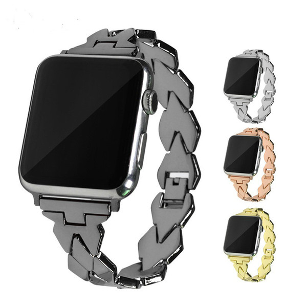 Fashion Metal Strap for Apple Watch Band 40mm 44mm Geometric rhombus Design Replacement Watchband for iWatch 4/3/2/1 Smart Watch Bracelet