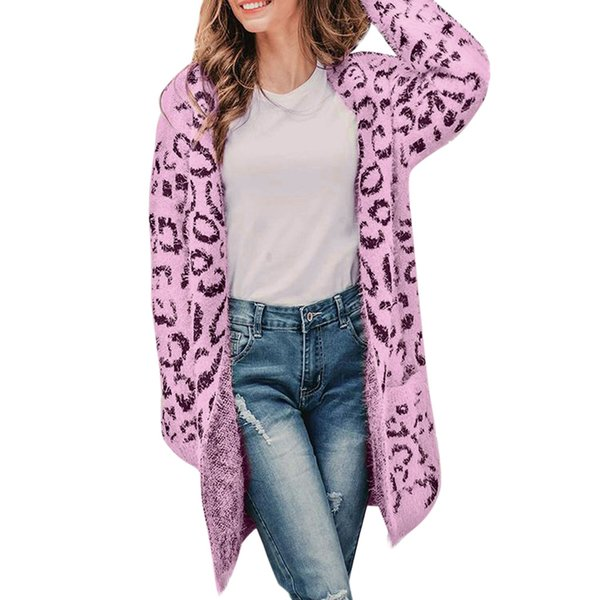 5127ba76268 2018 2018 Winter Leopard Print Women Loose Cardigan Sweater Casual Knitted  Long Coat Sweater Cardigan Female Leopard Jackets 85jk From Bida Jany, ...