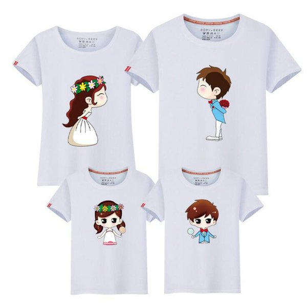 2019 Cartoon Characters Family Look T Shirts Summer Family Matching Clothes Father Mother Kids Outfits Cotton Tees Shirts Fy007