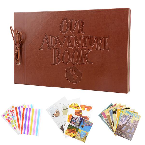 Vintage 80 pages papier kraft cartes ensemble de notre album mon aventure avec outil de bricolage à la main Photo foto album photo