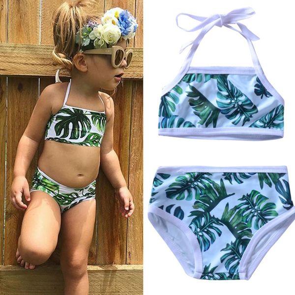 2019 Neue Zwei Stücke Badeanzug Set Infant Baby Kid Girl Blatt Gedruckt Bikini Bademode Badeanzug Grün Bikini Set 80-120
