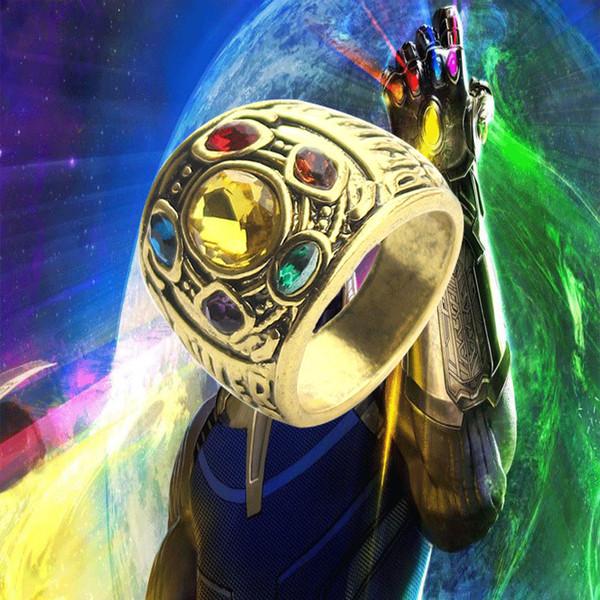 Avengers 4:Endgame Thanos Ring Infinite Stones Diamond Platinum Infinity Gauntlet Power Golden Ring Red Marvel Crystal Rings For Men Women