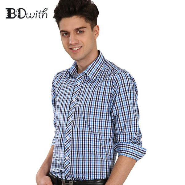 Cotton Black Blue Grid With Long Sleeve Square Collar Shirt Men Solid Shirt Non Iron Slim Fit Business Shirts Formal 4XL