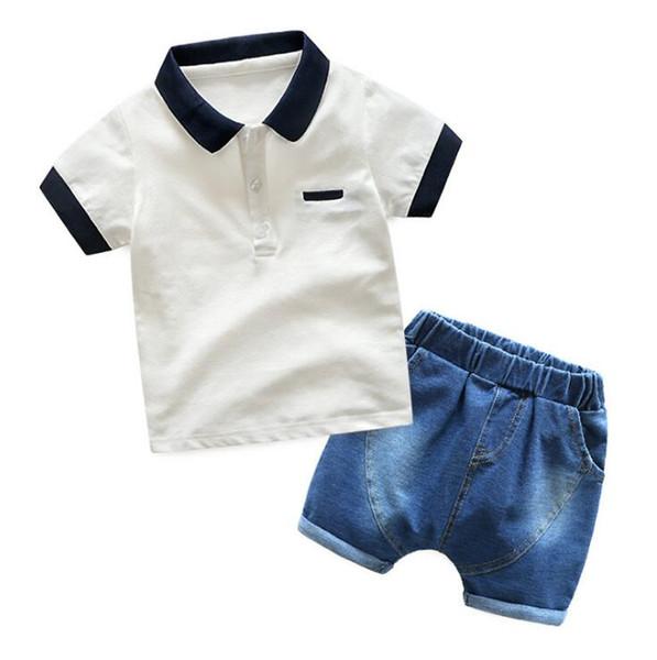 Kids 2 Color fashion INS boy rayas flor cinturón trajes Verano niños de dibujos animados de manga corta T-shirt + shorts 2 unids trajes ropa de bebé B