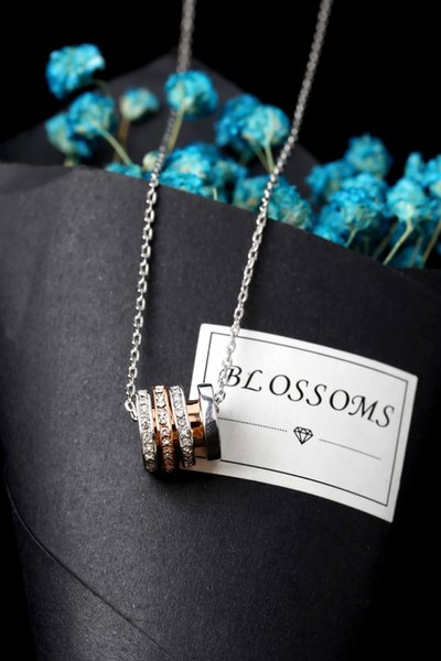 Original alloy material Transfer beads crystal necklace clavicle lover birthday gift VIO silver with a full set of counter packaging