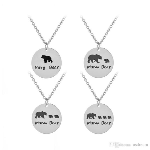 Schwarzer Emaille Baby Bär, Mama Bär Halskette mit Silber überzogene Anhänger für Frauen Kinder Jewery Geschenk DROP SHIP 162229