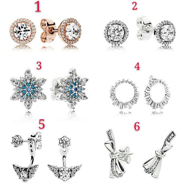 Authentique 925 Sterling Silver Stud Designer Boucles d'oreilles pour les femmes Bijoux de mariage Original argent or rose digne de pandora Bracelets de luxe