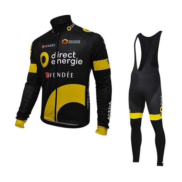 Maillots de vélo Pro Tour Team Direct Energie manches longues hiver polaire plus chaud vêtements de vélo Vélo Vélo Ropa Ciclismo Vélo Maillot