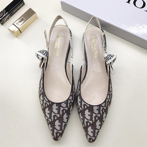2019 Elegant Flat Heel Women Pumps Pointed Toe Fashion Shoes Women's Wedding Footwears Slingback In Technical Fabric Sandals Pompe da donna
