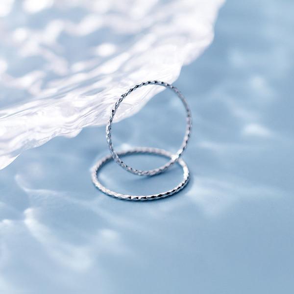 미니멀리즘 S925 실버 여성 유럽 미국 스타일의 패션 간단한 기어 1mm 얇은 링 링 컷 검지 손가락 반지
