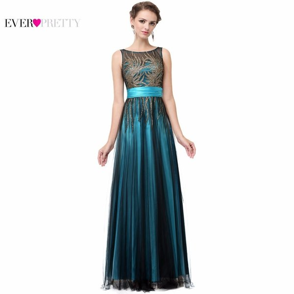 Elegant A Line Sleeveless Green Ever Pretty Ep08740 Evening Round Neck Long Dresses Women New Arrival Gowns Q190522