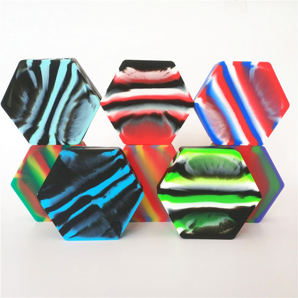 10pcs 110ml big hexagon shape assorted color silicone container for Dabs Round Shape Silicone Containers wax Silicone Jars Dab containers