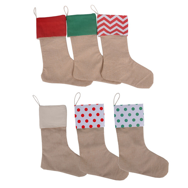 50PCS Christmas Stocking Gift Bags Jute Burlap Gift Bags Holders Christmas Home Party Decoration Burlap Socks Xmas Supplies