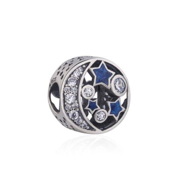 Étoile Lune Perles Étoilé Conte De Fées Bleu Série Marque Pandora Perle 925 Argent Sterling Pour Femmes Bracelet Collier Charmes Bijoux Cadeau W64
