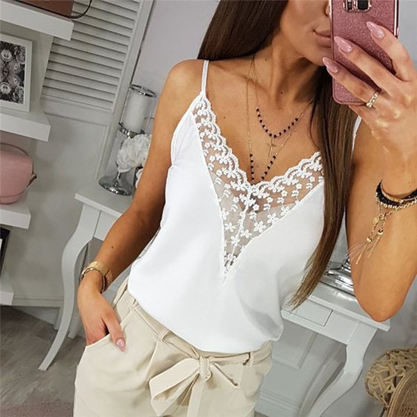2019 New Fashion Womens Solid Camisole Vest Tops Neck Design Lace Trim Cami Tank Womens Strappy