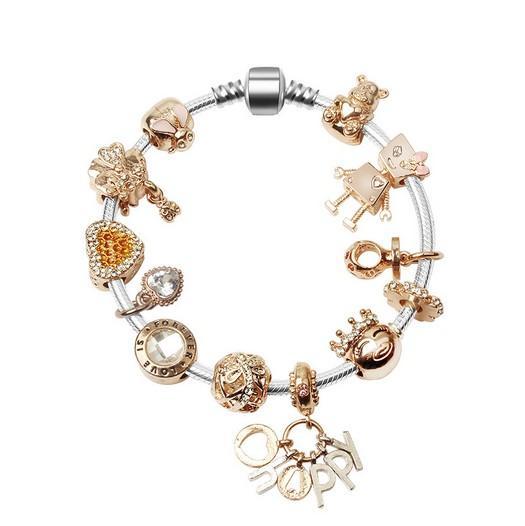 2019 nouvelle mode Little Bella Rose pendentif en or charme balancent charme européen perles chaîne de sécurité Convient Pandora charme bracelets Style Bracelets