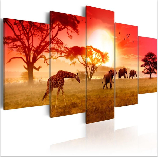 ( No Frame)5PCS/Set Color of Africa Elephant Giraffe Art Print Frameless Canvas Painting Wall Picture Home Decoration