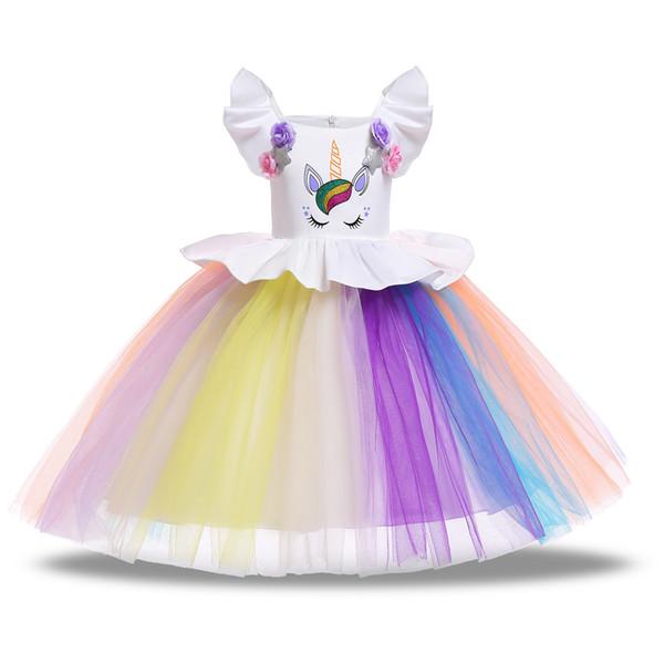 Baby girls unicorn dress children TUTU lace Tulle princess dresses cartoon 2019 summer Boutique kids Clothing 7 colors C5939