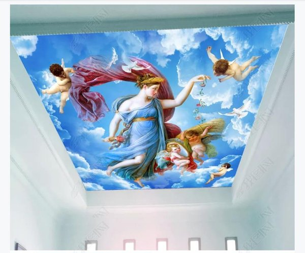 3d Zenith Mural Photo Custom Wallpaper Interior Decoration God Of Love To Send Living Room Zenith Ceiling Wallpaper Background Mural Wallpapers