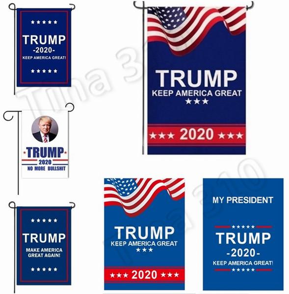 Il più nuovo 30 * 45cm Trump 2020 Garden Flag Print Keep America Grande Banner Garden window Decor Presidente USA American Donald Flag 4716