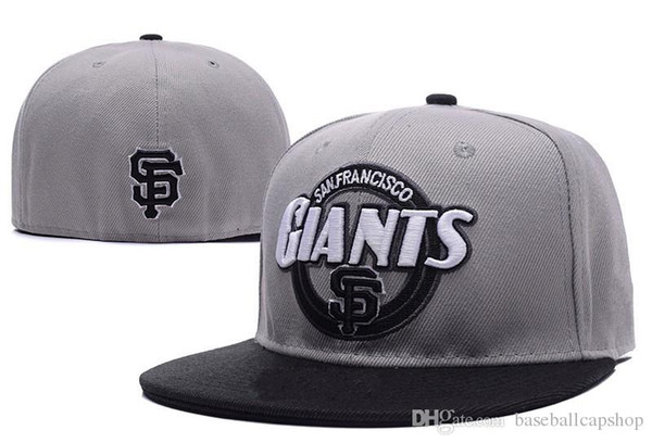 High Quality Men's SF Sport Team Fitted Caps Flat Brim on Field Full Closed Design Giants Gray Color Baseball Hats