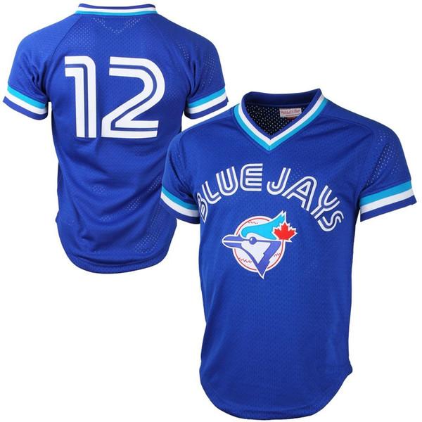 Mitchell Ness Roberto Alomar Jersey Toronto Jays Cooperstown Colección Malla Práctica de bateo Camisetas de béisbol - Azul real