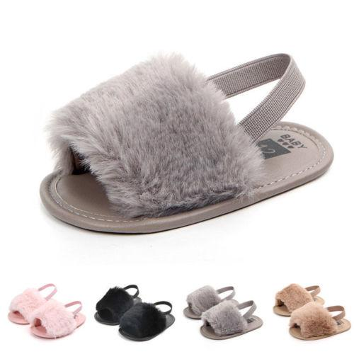 New Baby Kids Girls Crib Shoes Summer Fur Toddler Soft Sole Casual Flats Shoes Fashion