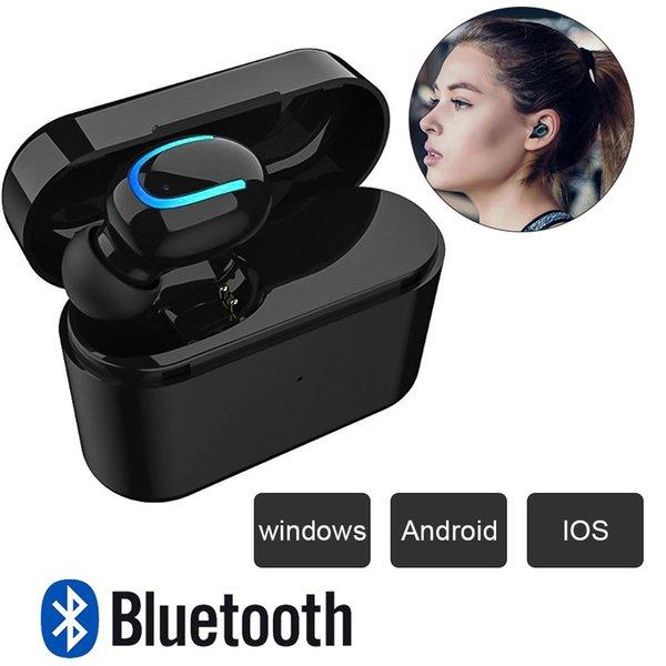 HBQ Q26 Bluetooth 5.0 Mini Casque Mono Sans Fil Étanche Sweatproof Casque avec Boîte de Recharge Voiture W09