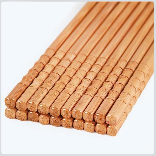 Palillos De Madera De Bambú Natural Hecho A Mano Chino Chop Sticks Carbonización Reusable Hashi Sushi Comida Stick Regalo Vajilla