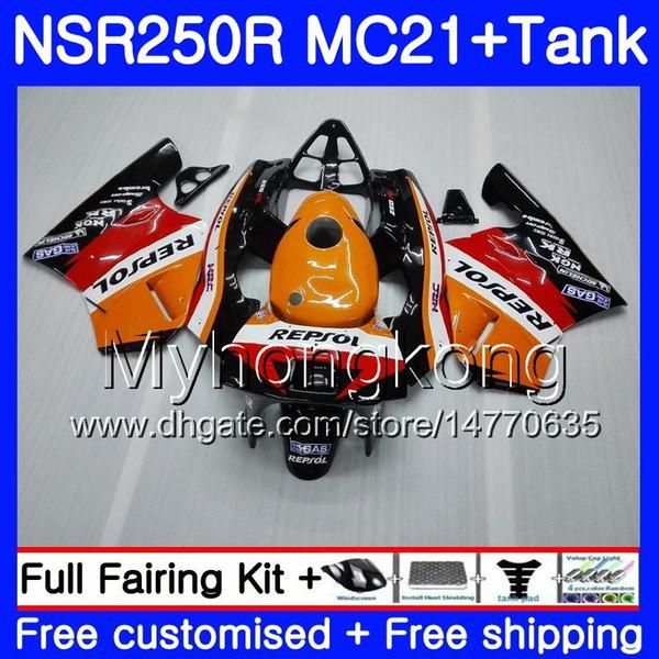 Injection For HONDA NSR 250R 250 R MC21 PGM3 NSR250R 90 91 92 93 264HM.7 NSR250 R RR NSR250RR 1990 1991 1992 1993 Repsol orange red Fairings