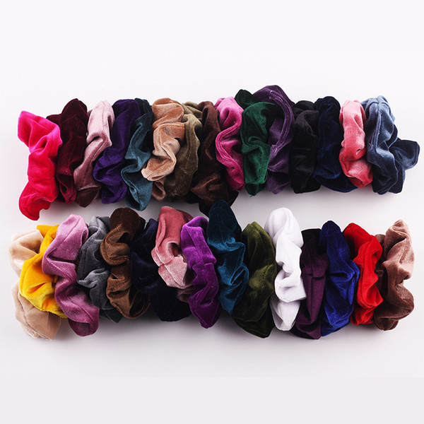 top popular Light Color good quality elastic hair scrunchies fashionable trend factory directly sale velvet hair scrunchies hair accessories 2021