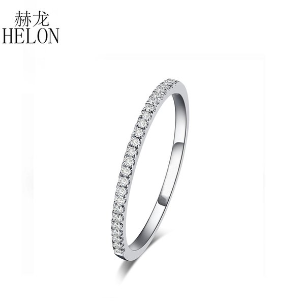 Helon Solid 14k White Gold Certified Round 100% Natural Diamond Ring Half Eternity Ring For Women Anniversary Party Gift Jewelry Y19052301