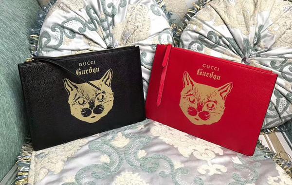 1112 (2F9E) latest cat head print clutch WOMEN WALLET CHAIN WALLETS PURSEWomen Handbag Shoulder Totes Mini Bag Clutches Exotics