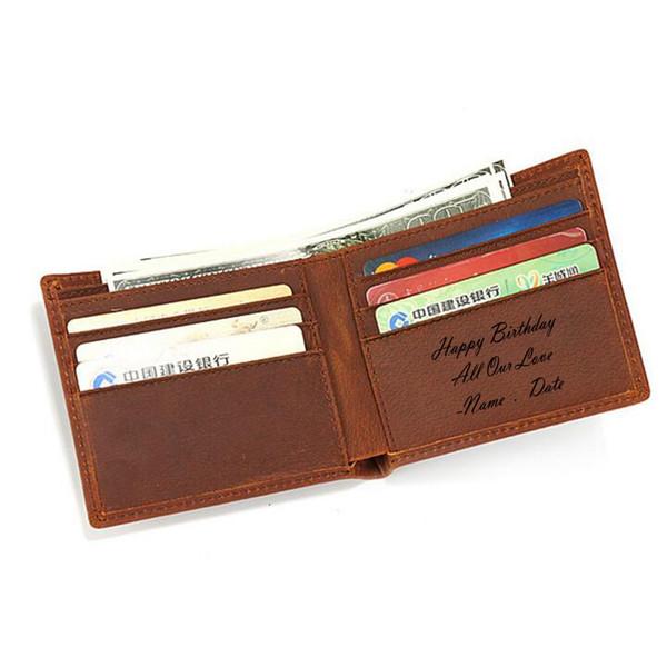 Happy birthday surprise Custom Name Men's Wallet Multi Card Genuine Leather Small Wallet Vintage Men Birthday Gift Purse #124649