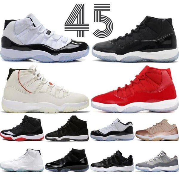 2019 New 11 Mens 11s Basketball Shoes Concord 45 Platinum Tint Space Jam Gym Red Win Like 96 XI Designer Sneakers Size 13