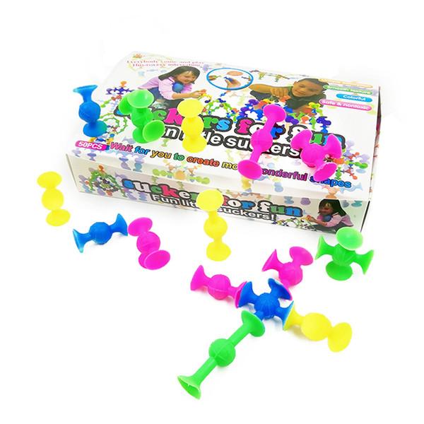 Classical Fun Little Suckers Silicone Soft Blocks Building Robot Educational Creative Toy Shape Color Cognition Development