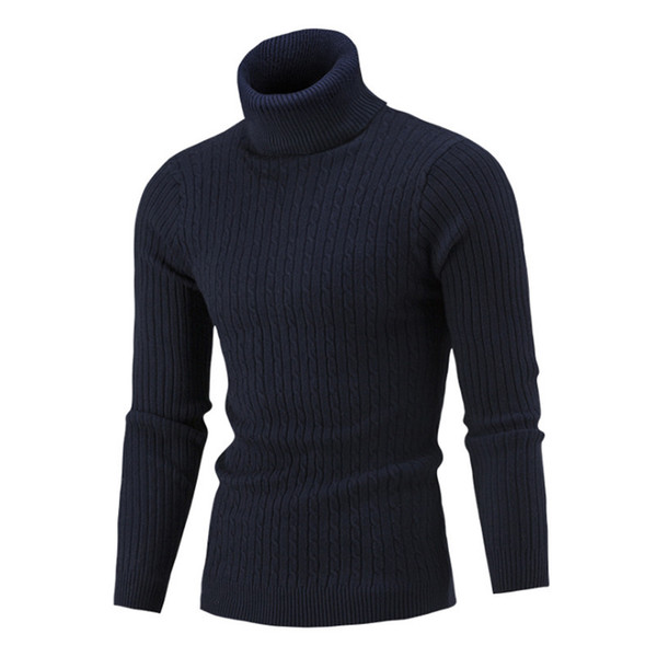 Autumn Winter Mens Knitted Sweater Turtleneck Pullovers Turn-down Collar Pullovers Man Casual O-Neck Slim Fit Long Sleeve Sweaters