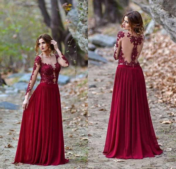 Sexy Design A Line Jewel Floor Length Burgundy Chiffon Long Sleeve Evening Dresses Appliques Lace Special Occasion Prom Dresses