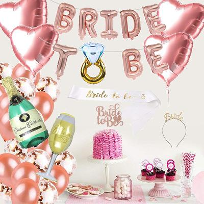 free shipping hot Bachelor party bride to be party decoration set bride hair shoulder strap champagne glass balloon Party decoration