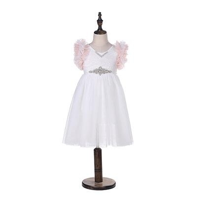 Girls Lace Embroidery Dress kids Tiered Ruffle Fly Sleeve Princess Dress Children Rhinestones Belt Lace Tulle Dress Girl Party Dresses