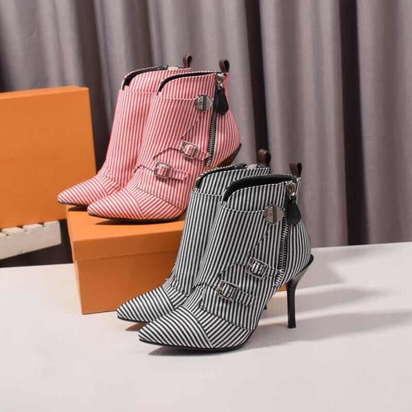 Großhandel Frauen Schuhe Designer Frauen Fersen Stiefel Designer Schuhe 2019 Neue Herbst Winter Spitzen Stiefel Fashion Luxury Designer Frauen Stiefel