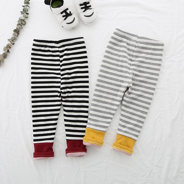 Striped Pants Autumn Winter Clothing Baby Girls Leggings Children Pants Thick Warm Kids Clothes Velvet Leggings Girl Trousers