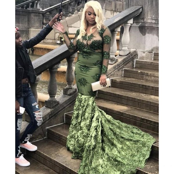 2019 Sexy Long Sleeve Mermaid Prom Dress New Lace Appliqued Beading Sweep Strain Flowers Formal Evening Dress Plus Size Party Gowns