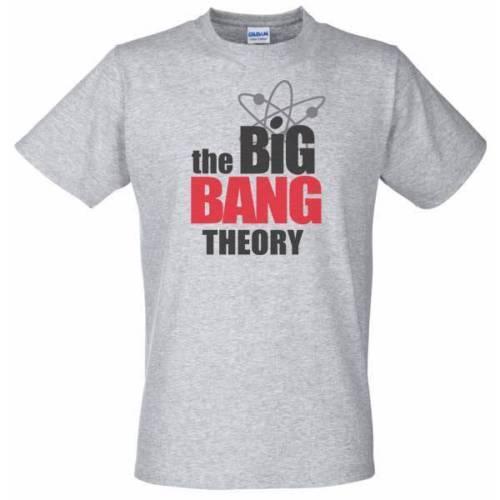 T-Shirt grigia con THE BIG BANG THEORY Logo - Sheldon Cooper show televisivo Divertente spedizione gratuita Unisex Casual